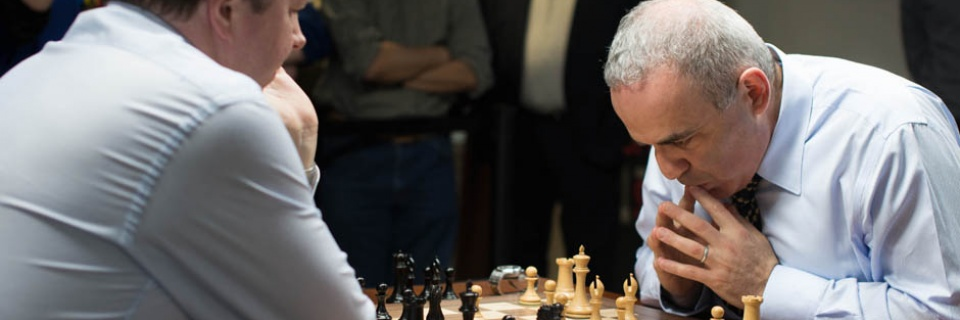 Kasparov settles into a familiar stance, returning to his old black-and-white stomping grounds for just the fourth time since 2005 // Austin Fuller photo