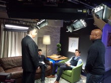 GM Yasser Seirawan, GM Eric Hansen, GM Maurice Ashley, GM Alejandro Ramirez prepare for Today in Chess